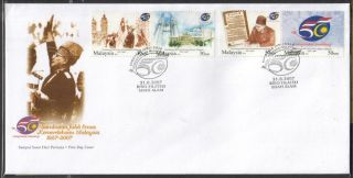 Malaysia 2007 50th Years Anniversary Golden Jubilee Of Independence Fdc Cover photo