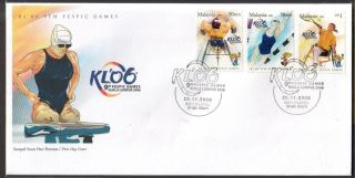 Malaysia 2006 Kl ' 06 9th Fespic Games Swimming Tennis Running Fdc Cover photo