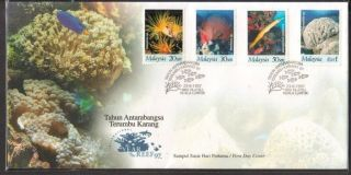 Malaysia 1997 Int ' L Year Of The Reef 97 Turtle Corals Fdc Cover Minor Toned photo
