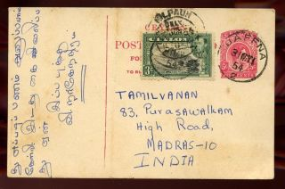 Ceylon 1954 5c Stationery Card To India Uprated Kgvi 3c Jaffna Cancels photo