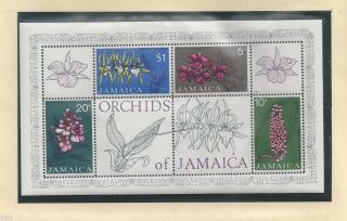 Jamaica 1973 S/s Of 4 Orchid Flower Stampssc 378a Og photo