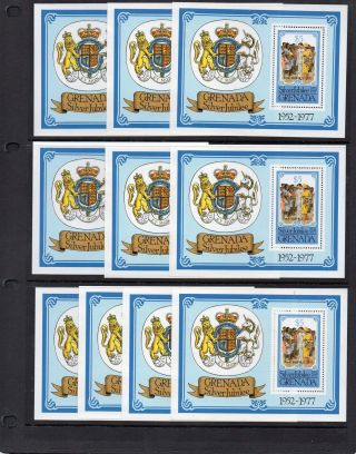 Grenada 1977 Silver Jubilee Miniature Sheet U/mint (5) & (9) photo