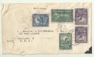 Republique D ' Haiti 1946 Air Mail Cover Haiti Port - O Prince Miami Chicago photo