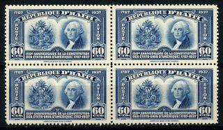 Haiti Block Of 4 Airmail C11 1938 Air George Washington Us Constitution photo