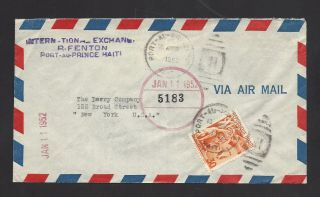 Haiti Airmail Cover To Derry Co.  - - York City - - - 1952 - - - Cover photo