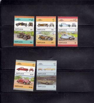 Saint Lucia 1986 Scott 851 - 55 Vintage Automobiles photo