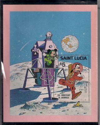 Vintage Saint Lucia Mickey Mouse & Goofy 10th Anniversary Moonwalk Stamp Sheet photo