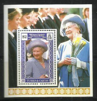 Turks & Caicos 1990 - 90th Anniv Queen Mother Elizabeth S/s photo