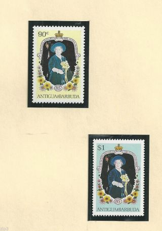 Antigua - Barbuda - 1985 - 85th Birthday Queen Mother - Orchids Sc 866 - 867 Og photo