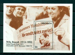 Grenada 1993 M/sheet Willy Brandt - Mi.  No Bl338 photo