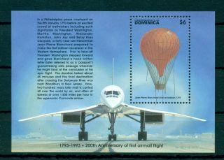 Dominica 1993 M/sheet 200 Anniv.  Of First Airmail Flight - Mi.  No Bl244 photo