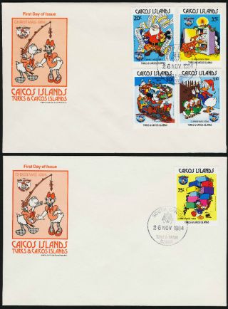 Caicos Islands 54 - 9 On Fdc ' S Disney,  Christmas,  Donald Duck photo