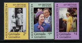 Grenada Grenadines 749 - 51 - Queen Elizabeth 60th Birthday photo