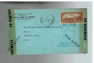 1944 Port Au Prince Haiti Airmail Royal Bank Of Canada Censored Cover To Usa photo