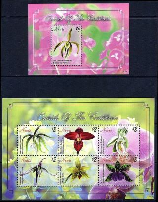 Nevis - 2011 Orchids Of The Caribbean Block Plus Sheetlet photo