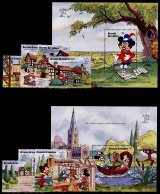 Grenada Grenadines 1175 - 84 Disney,  Shakespeare,  Mickey Mouse,  Birds photo