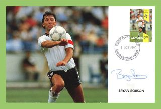 Nevis 1990 Football World,  Bryan Robson Stamp On Signed First Day Card photo