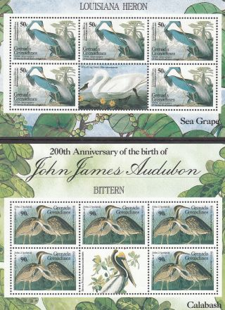 Grenada Grenadines 1986 200th Anniv John James Audubon Pristine Mnh/muh Birds photo