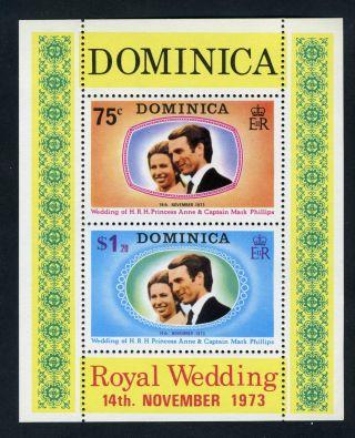 Dominica 1973.  Royal Wedding.  Minisheet Ms396. .  Og. photo
