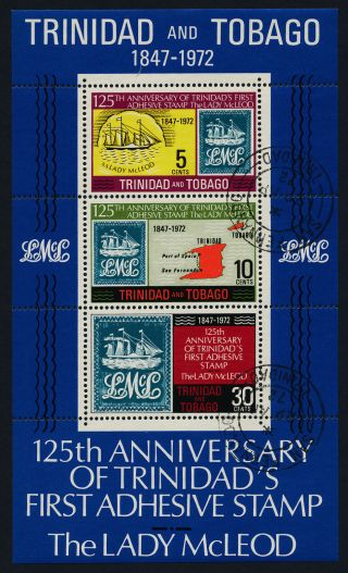 Trinidad & Tobago 218a - Stamp On Stamp,  Ship,  Map photo