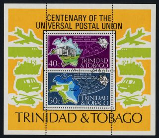 Trinidad & Tobago 244a - Upu,  Aircraft,  Map photo