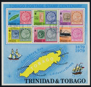 Trinidad & Tobago 317a - Stamp On Stamp,  Map,  Ship photo