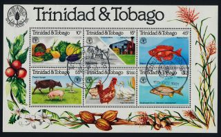 Trinidad & Tobago 353a - World Food Day,  Fish,  Poultry,  Animals,  Fruit photo