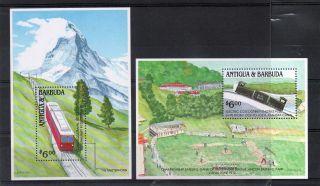 Antigua Qe2 1991 Min.  Sheet Cog Railways Sg Ms1493 Nhm photo