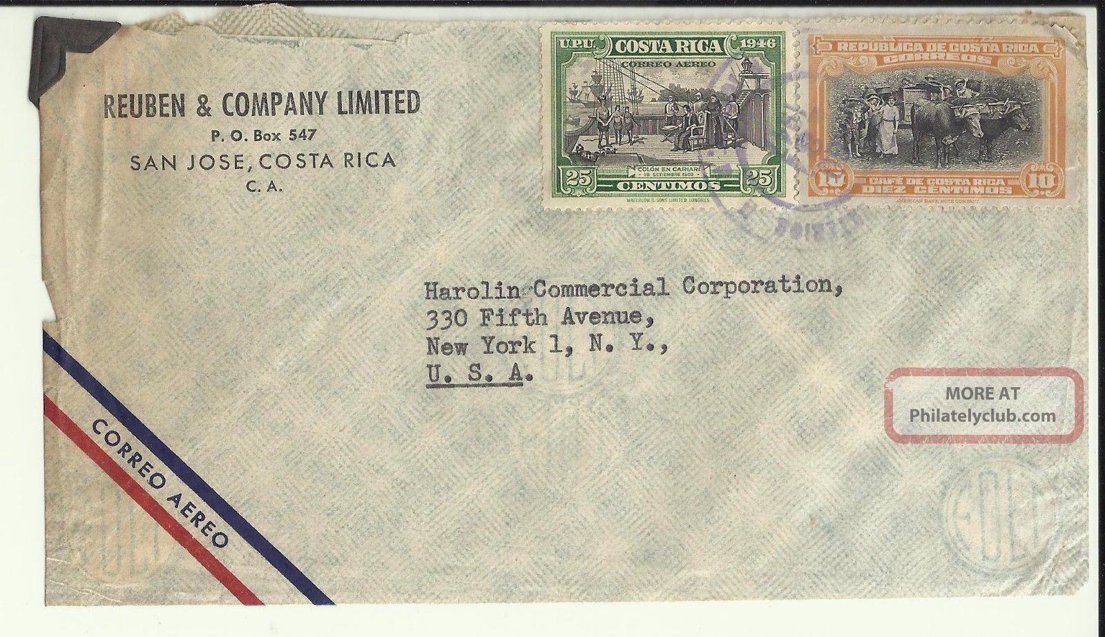 Rueben & Company 1947 San Jose Costa Rica Correo Aereo Cover Harolin Co Ny Usa Latin America photo