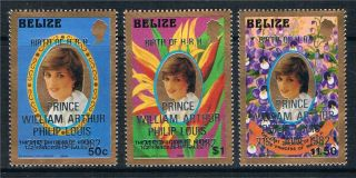 Belize 1982 Birth Of Prince William Perf 14 Special Printing Sg 707/9 photo