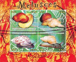 Peru 2009 Molluscs,  Snail,  Souvenir Sheet photo