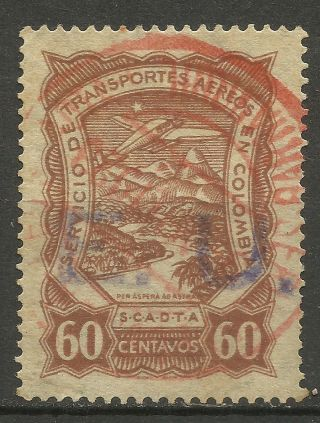 Colombia 1923 - 28 Airmail Stamp Scadta Violet Surcharged E.  U.  United States photo