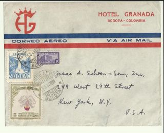 1947 Hotel Granada Correo Aereo Air Mail Cover Bogota Colombia To York Usa photo