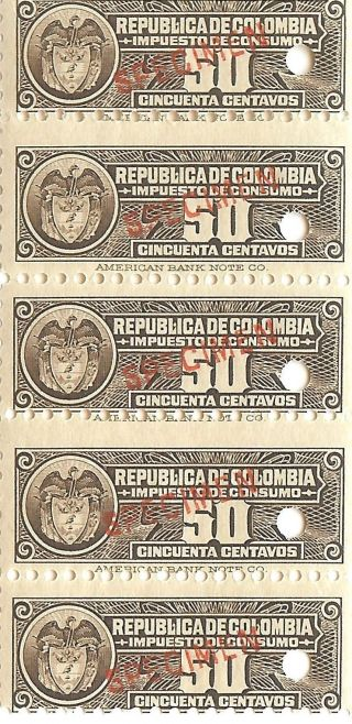 Republica De Colombia 5.  C.  1940 Fiscals W/ Specimen Ovpts Impuestos Consumo photo