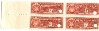 Republica De Colombia 4.  C.  1940 Fiscals W/ Specimen Ovpts Impuestos Consumo photo