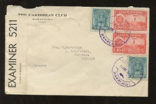 Venezuela 1942 Caribbean Club Envelope Censored To Wales photo