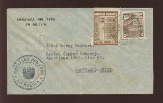 Bolivia 1946 Cover To Chile. .  Copper Co. .  Diplomatic Peru photo