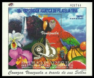 Venezuela 1996 Birds Parrots Macaw Flowers Orchids Fruit Waterfalls M/sheet photo