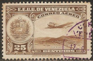 1938 Venezuela: Scott C87 - 25c La Guaira,  National Pantheon & Oil Wells - photo