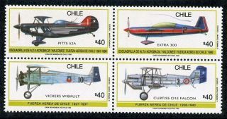 Chile 1990 Sc 1416 - 9 Airplanes Fighters photo