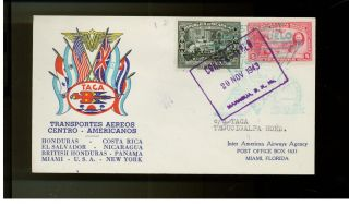 1943 Nicaragua Taca Airlines First Flight Cover Ffc To Honduras photo