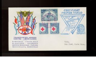 1943 Honduras Taca Airlines First Flight Cover Ffc To Costa Rica Red Cross Stamp photo
