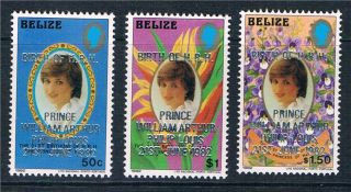 Belize 1982 Birth Of Prince William Sg 707/9 photo