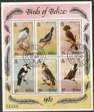 Belize Sgms567 1980 Birds 4th Series F/used Sheet photo