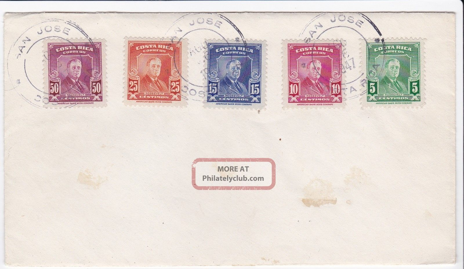 First Day Cover,  Costa Rica,  1947,  Roosevelt Commemoratives,  Sc 251 - 255 Latin America photo