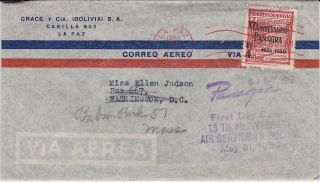 First Day Cover,  Bolivia,  Scott C128,  Panagra 15th Anniversary,  1950 photo