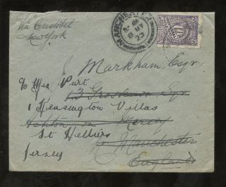 Colombia 1923 Provisional Single 10c To Manchester Redirected Jersey Channel Is photo