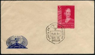 1954 Argentina Eva Peron Cat Arg 545 Jalil 1030 Fdc Santa Fe Unusual Cover photo