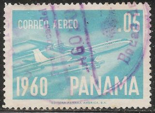 1961 Panama: Air Mail - Scott C240 - Boeing 707 Airliner (. 05b Light Blue) photo
