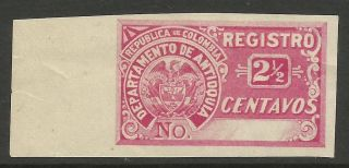 Colombia - Antioquia.  1895.  Proof Of The 2 - 1/2c Pink Registration Stamp. . photo
